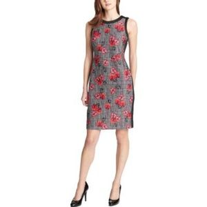 Printed Contrast Trim Sheath Dress Black